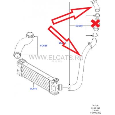 Патрубок интеркуллера EURO4 FWD (турбина-кулер)