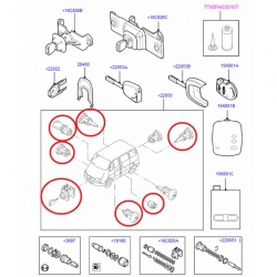 комплект личинок 06-13 (4 двери) замки/ключи/ролики  для Форд Транзит