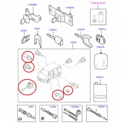 комплект личинок 06-13 (2 двери) замки/ключи/ролики  для Форд Транзит